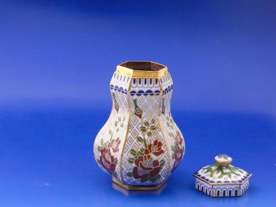 Antik tűzzománc fedeles réz váza   regisegkereskedes.hu